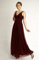 Abendkleid Empirestil burgund Chiffon bodenlang 
