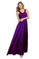 Abendkleid pflaume Chiffon V-Ausschnitt bodenlang 