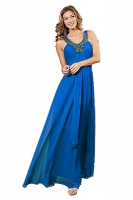 Abendkleid tealblau Chiffon V-Ausschnitt bodenlang 