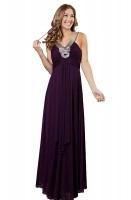 Abendkleid pflaume Chiffon romantisch elegant 