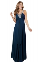 Abendkleid tealblau Chiffon romantisch elegant 