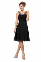 Cocktailkleid schwarz Chiffon schlicht festlich 
