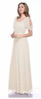 Brautkleid creme Chiffon elegante Brautmode 