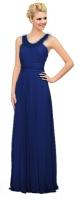 Abendkleid royalblau elegant Perlen Chiffon