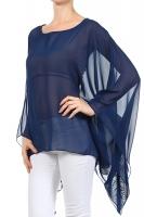 Abend-Bluse Tunika Stola Überwurf dunkelblau
