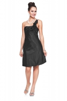 Verspieltes Cocktailkleid schwarz Satin 
