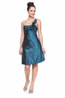 Verspieltes Cocktailkleid tealblau Satin 