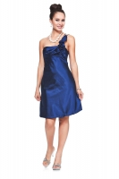 Verspieltes Cocktailkleid royalblau Satin 