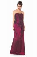 Ballmode Brautmutterkleid lang burgund Taft
