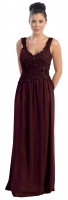 Abendkleid Chiffon burgund groe Gren 