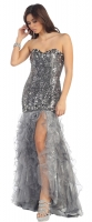 Catwalk Dress VIP Promi Kleid silber Pailletten