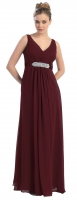 Abendkleid burgund Empire-Stil schlicht bodenlang 