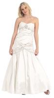 Corsagen-Brautkleid lang creme Meerjungfrau