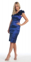 One-Shoulder-Dress royal blau Satin günstig
