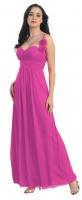 Abendkleid Empire-Stil lang magenta pink Chiffon