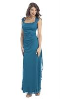 Abendkleid Spitze lang teal-blau petrol schlicht