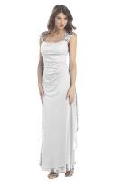 Abendkleid Brautkleid creme schlicht Spitze