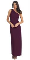 Abendkleid lang pflaume One-Shoulder-Dress