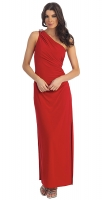 Abendkleid lang schlicht One-Shoulder-Dress rot