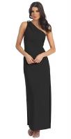 Abendkleid lang schlicht asymmetrisch schwarz
