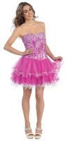 Tanzstunden-Kleid Tüll Petticoat pink Pailletten