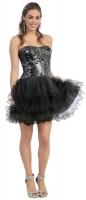 Prinzessinnen-Kleid Tüll Pailletten kurz schwarz