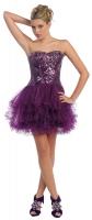Prinzessinnen-Kleid Tüll Pailletten kurz violett