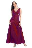 Abendkleid burgund V-Ausschnitt Empirestil 