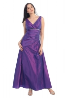 Abendkleid violett V-Ausschnitt Empirestil 