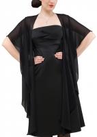 Chiffonschal Rund-Stola schwarz für Abendkleider