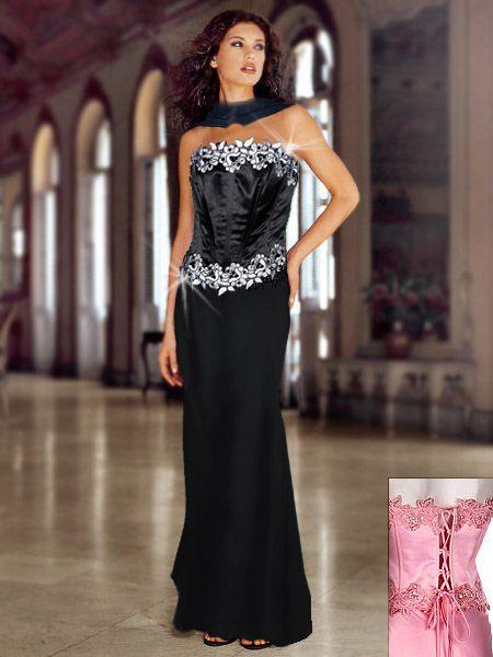 Abendkleid schwarz weib lang